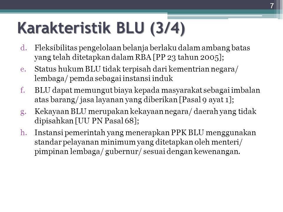 Karakteristik BLU (3/4) Fleksibilitas pengelolaan belanja berlaku dalam ambang batas yang telah ditetapkan dalam RBA [PP 23 tahun 2005];